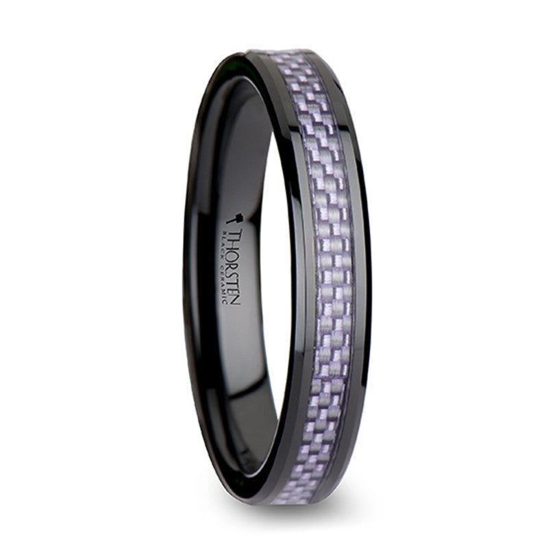 SOFIA | Black Ceramic Wedding Band | Lavender Carbon Fiber Inlay | 4mm & 6mm