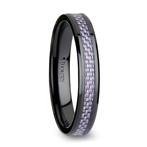 SOFIA Beveled Black Ceramic Ring with Purple Carbon Fiber Inlay   4mm & 6mm
