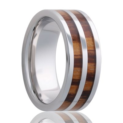 ABILA    Flat Cobalt Band  with Zebrawood Inlays and Polished Finish    |    8mm - TCRings.com