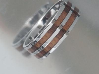 Cobalt Wedding Ring with Zebra Wood Inlay