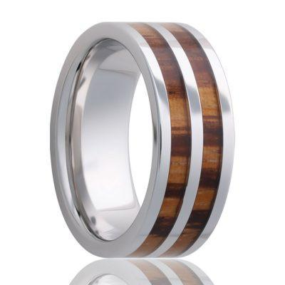 Mens Wedding Ring with double inlay of zebra wood in cobalt band
