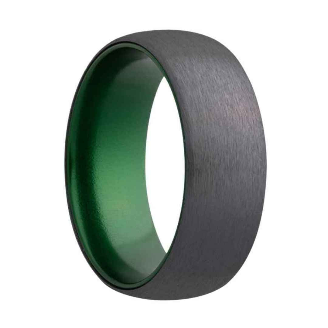 Men's domed zirconium with green inlay wedding ring