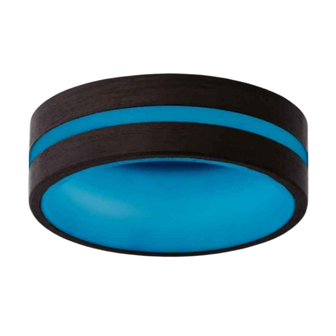 Men's carbon fiber blue glow wedding ring
