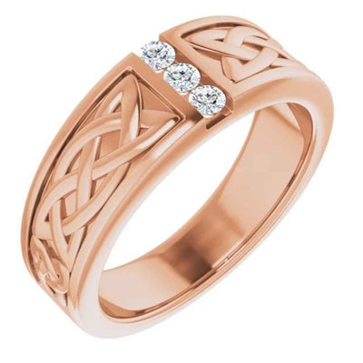 Men's 14K rose gold Celtic wedding ring with diamonds
