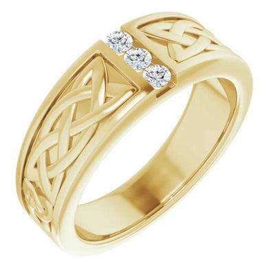 Men's 14K yellow gold Celtic wedding ring with diamonds