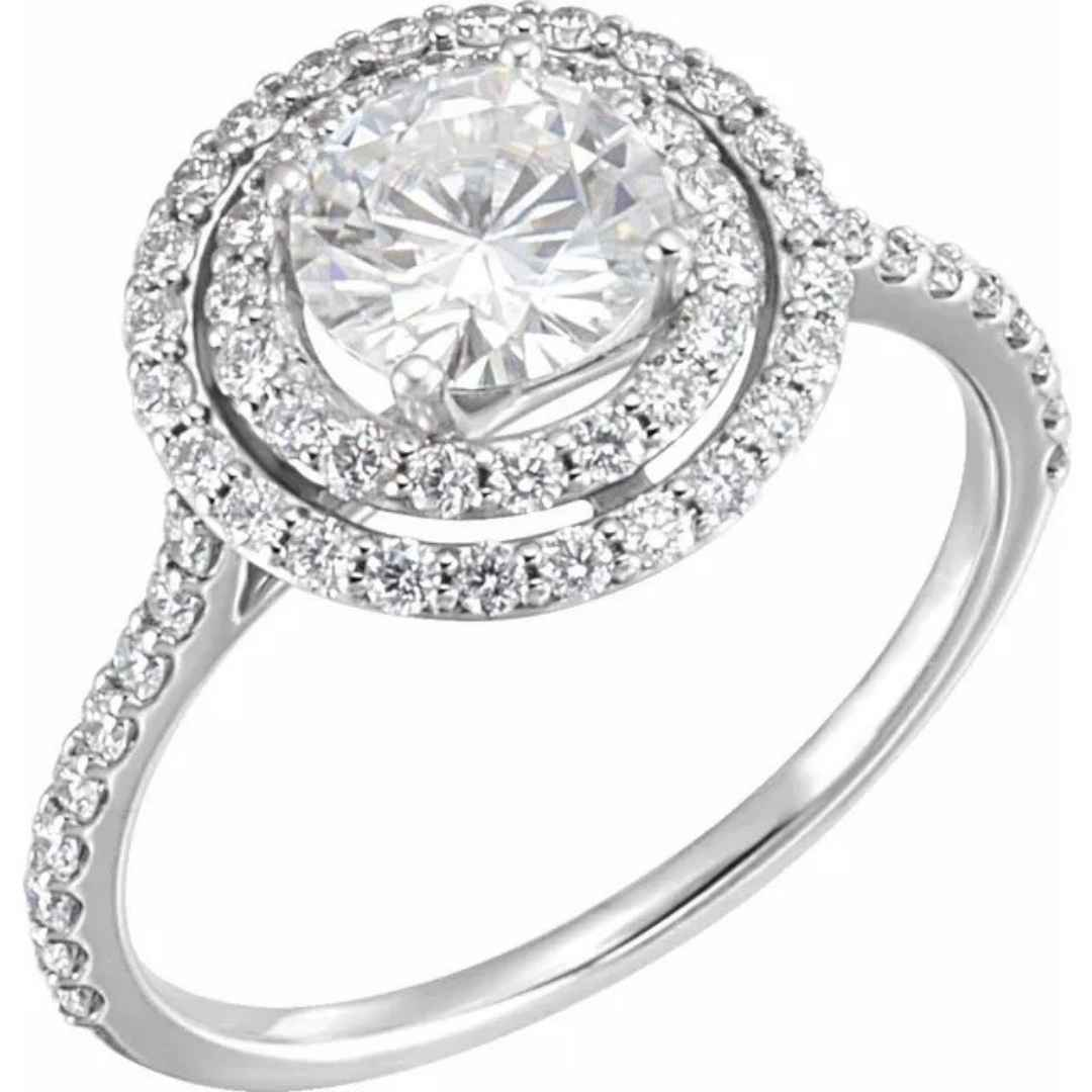 Women's 14K double halo engagement ring with Charles & Colvard Forever One Created Colorless-DEF Moissanite