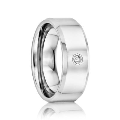 Men's Tungsten Wedding Band Diamond