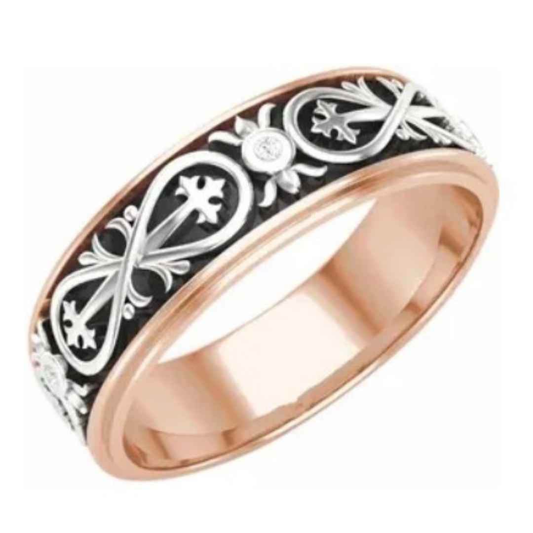 Mens Rose gold wedding ring with black and white infinity pattern
