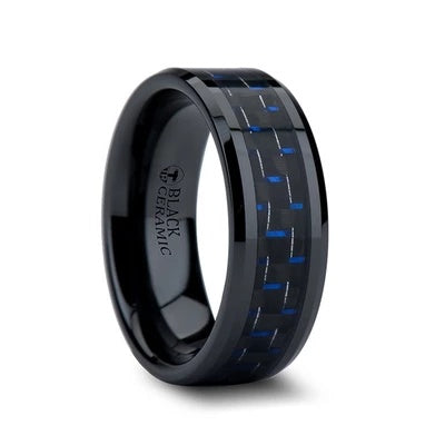 Black Ring with Carbon Fiber Inlay