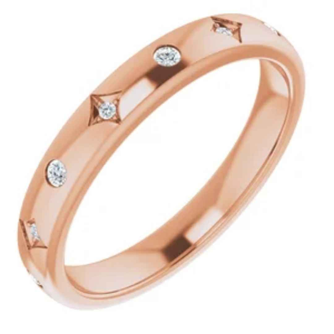 Anniversary Band | Rose Gold Ring with Diamonds