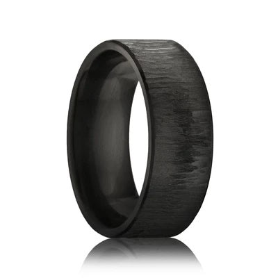 Black Zirconium Wedding Band with Tree Bark Finish