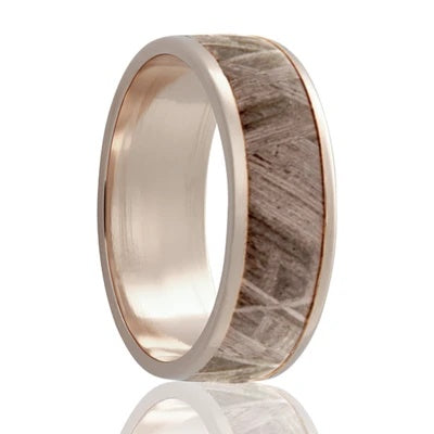 Gold Wedding Band with Meteorite Inlay White Gold