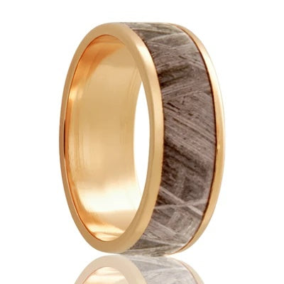 Gold Wedding Band with Meteorite Inlay Yellow Gold