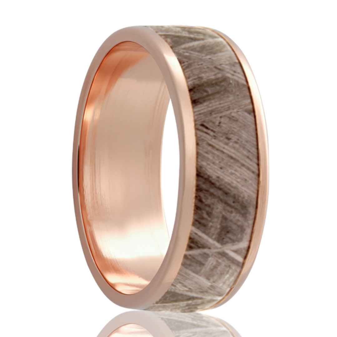 Gold Wedding Band with Meteorite Inlay Rose Gold