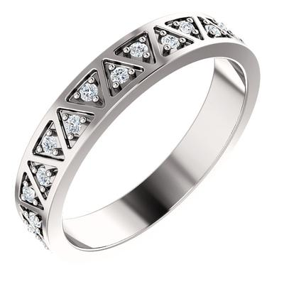 14k White Gold Wedding Band with Diamonds | 4mm