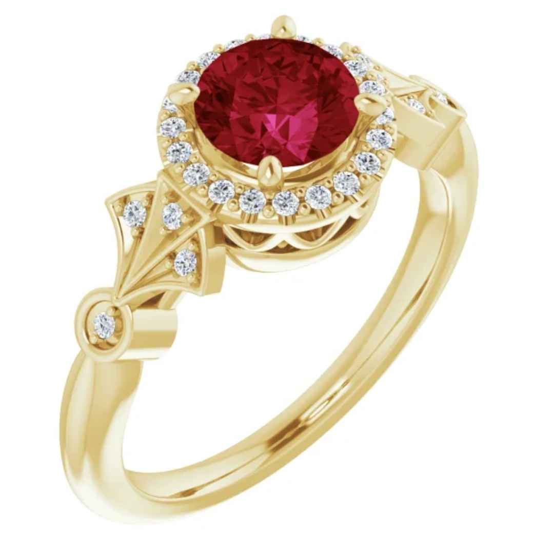 Women's 14K yellow gold lab created ruby engagement ring