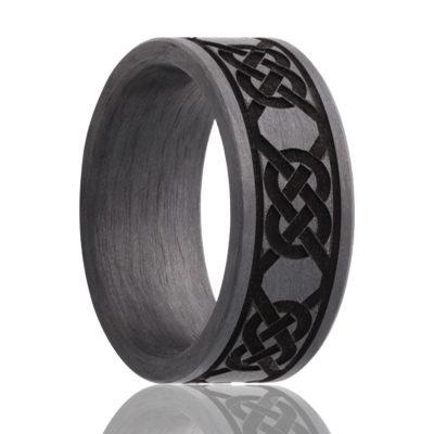 Black Carbon Fiber Ring Celtic
