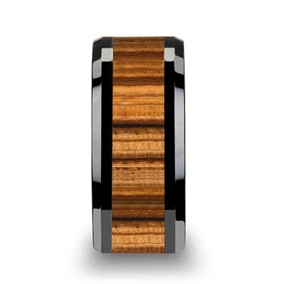 Men's Black Wedding Ring Zebra Wood Inlay