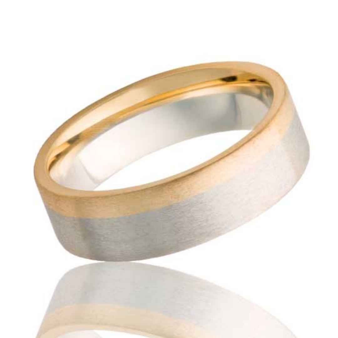 14k White Gold Band with Yellow Gold Edge
