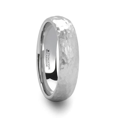 White Tungsten Wedding Ring Hammered Finish