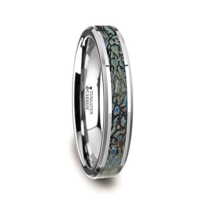 Tungsten Wedding Band Blue Dinosaur Bone