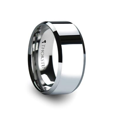 Tungsten Wedding Ring Beveled Edges