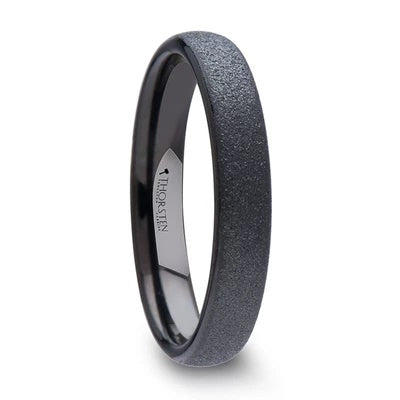 Black Tungsten Wedding Ring Domed Profile