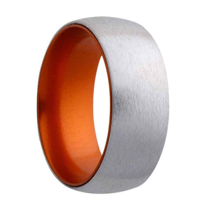 Men's cobalt wedding ring with orange inlay