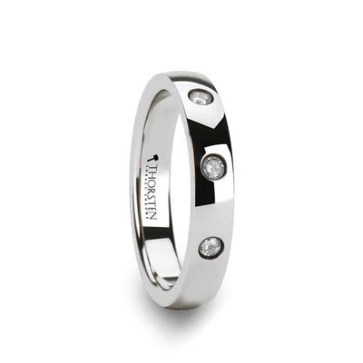 White Tungsten Wedding Band with Diamonds