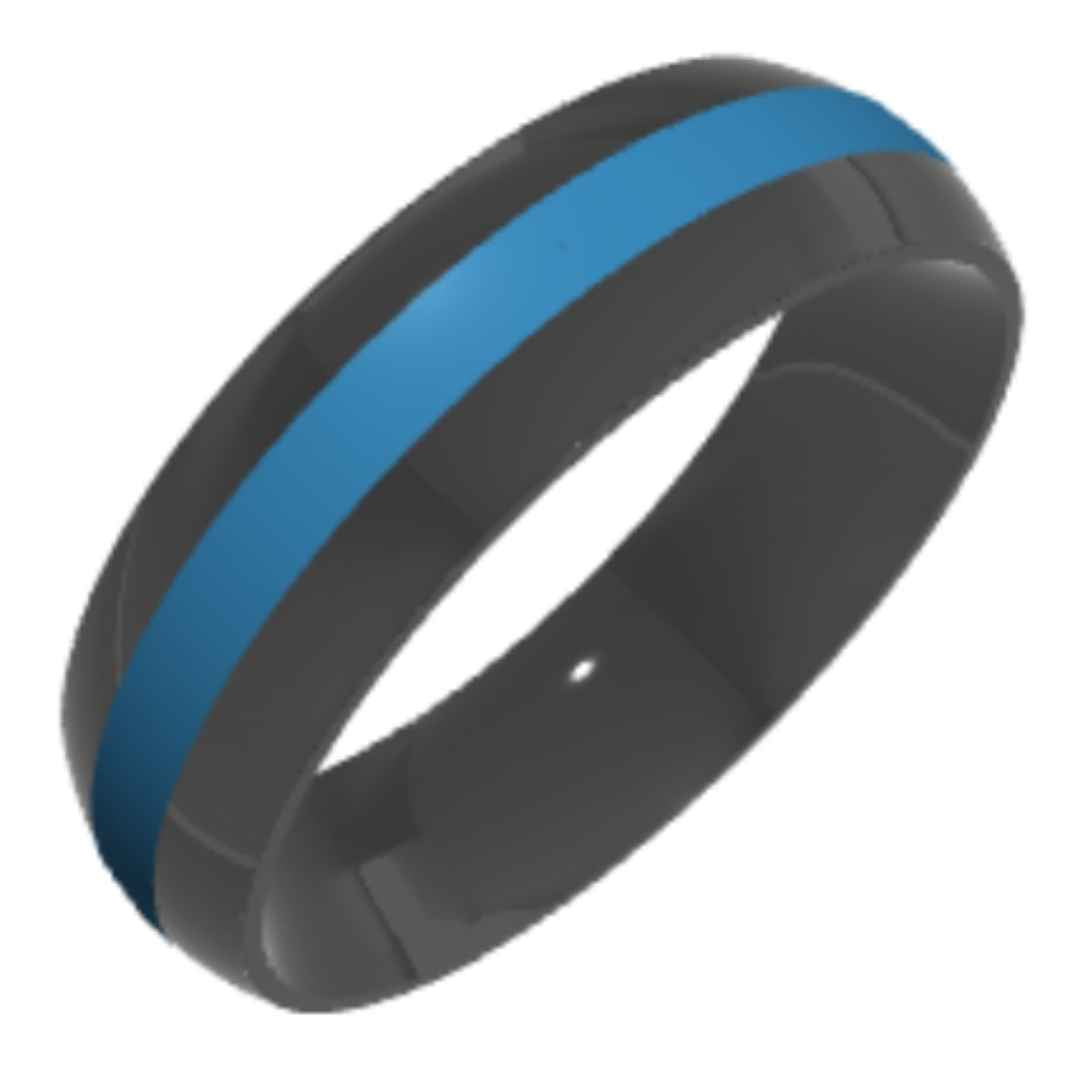 Men's zirconium wedding ring with blue inlay