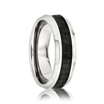 Tungsten Wedding Ring with Black Carbon Fiber Inlay