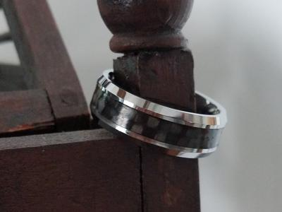Men's Ring Tungsten Carbon Fiber Inlay