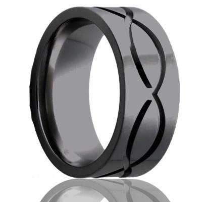 Black Zirconium Wedding Ring Infinity Pattern