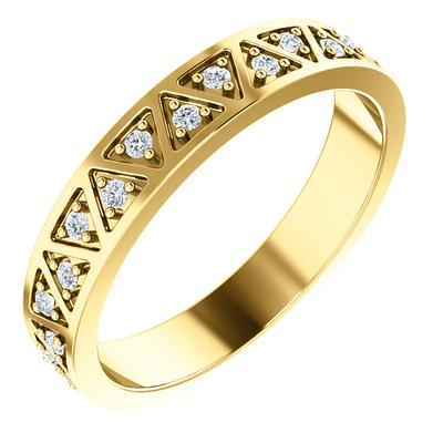14k Gold Wedding Ring with Diamonds Yellow Gold