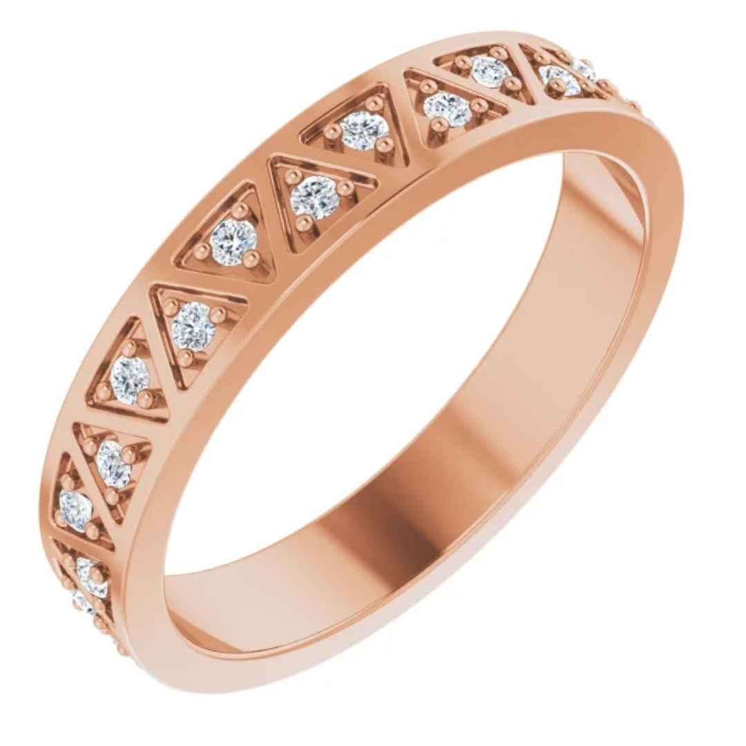 14k Gold Wedding Ring with Diamonds Rose Gold.  Anniversary ring. Eternity ring. Geometric ring. tcrings.com