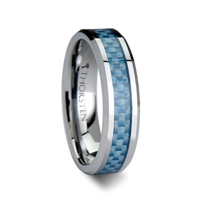 Tungsten Wedding Band with Blue Carbon Fiber Inlay