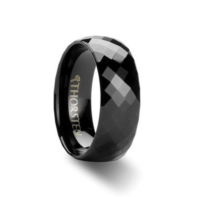 Black Ring for Men Tungsten Faceted