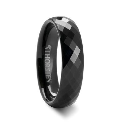 Men's Black Tungsten Wedding Ring with Facets
