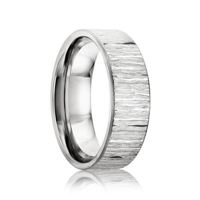 Cobalt Wedding Ring with Tree Bark Design