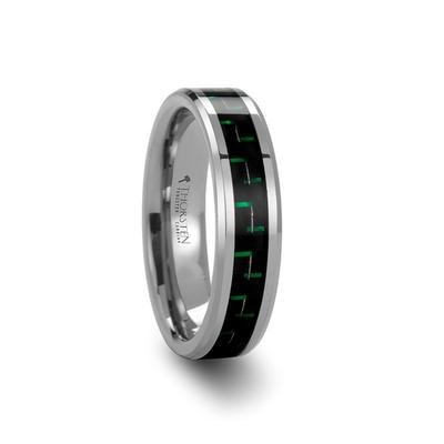 Men's Wedding Band Tungsten with Carbon Fiber Inlay