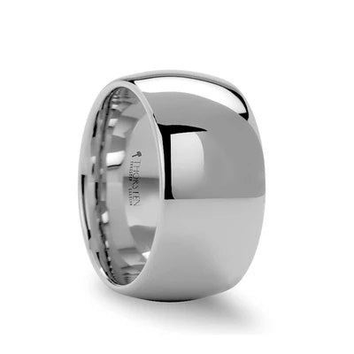 Men's Extra Wide 12mm White Tungsten Wedding Ring