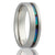 Mens Cobalt Wedding Ring with Offset blue green Abalone Inlay