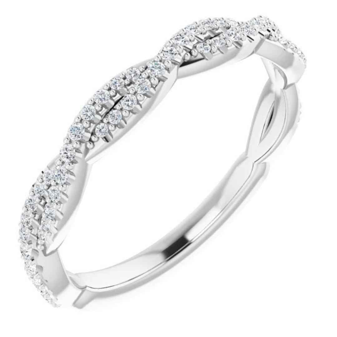 Women's Platinum Twisted Diamond Wedding Ring