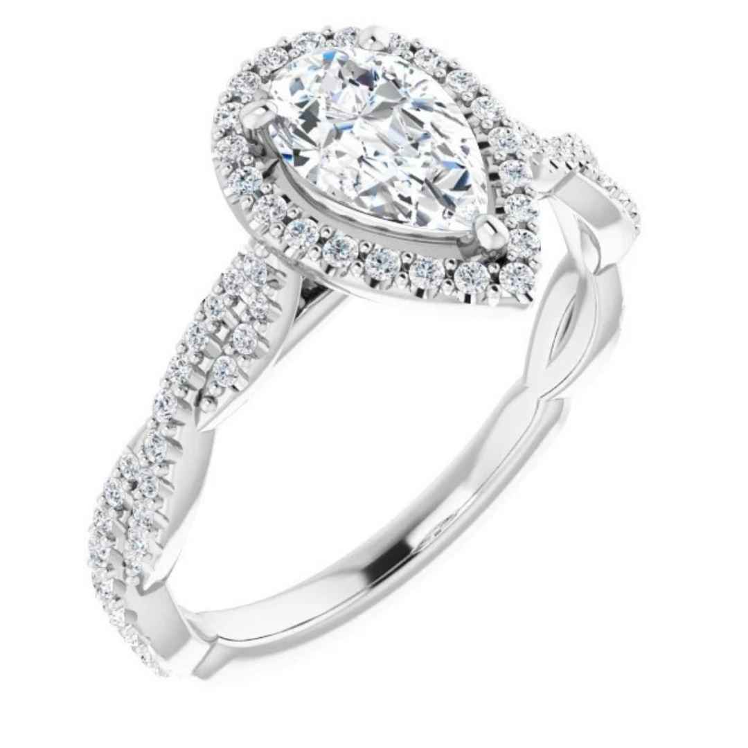 Women's 14K white gold halo pear engagement ring