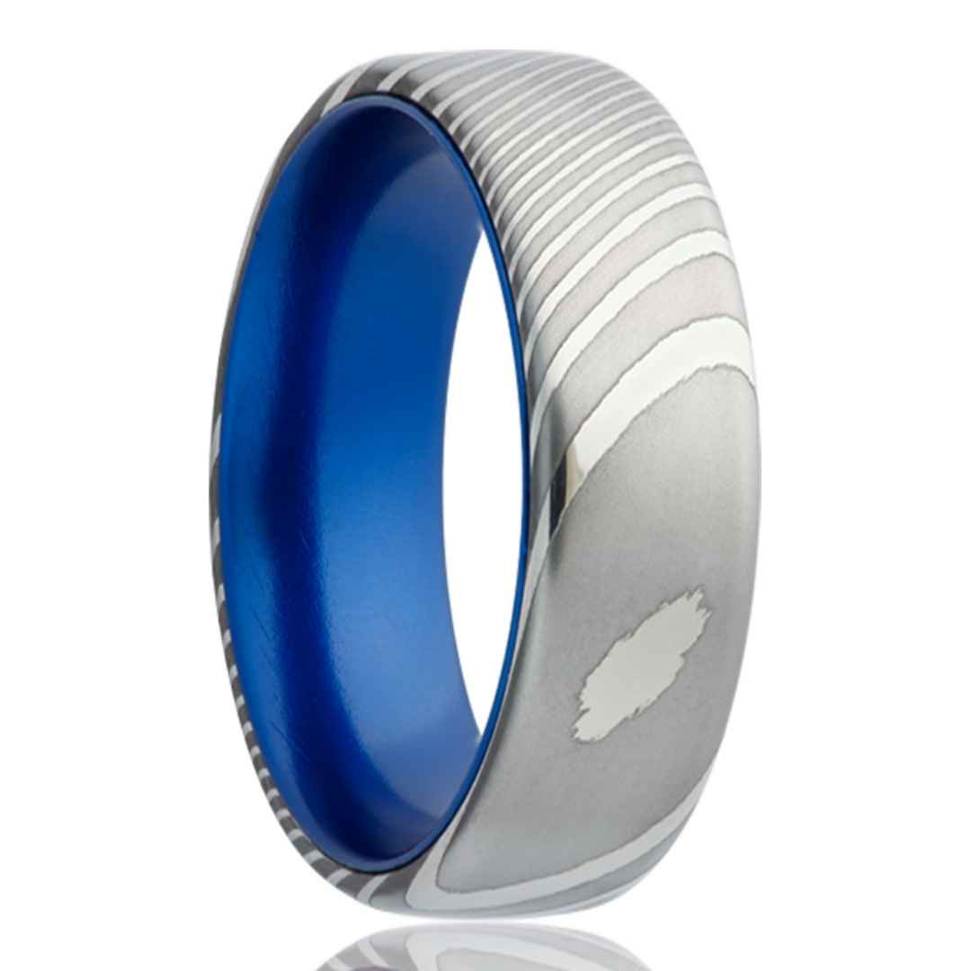 Men's Damascus Steel Wedding Ring with Blue Inlay