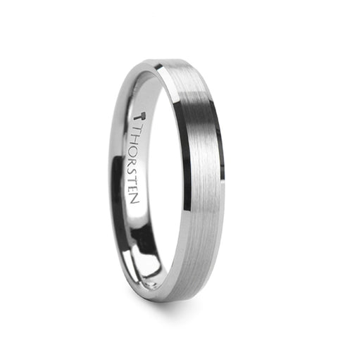 ASHFORD | Tungsten Carbide Wedding Ring, Brushed Center, Bevels | 4mm, 6mm, 7mm, 8mm, 10mm & 12mm - TCRings.com