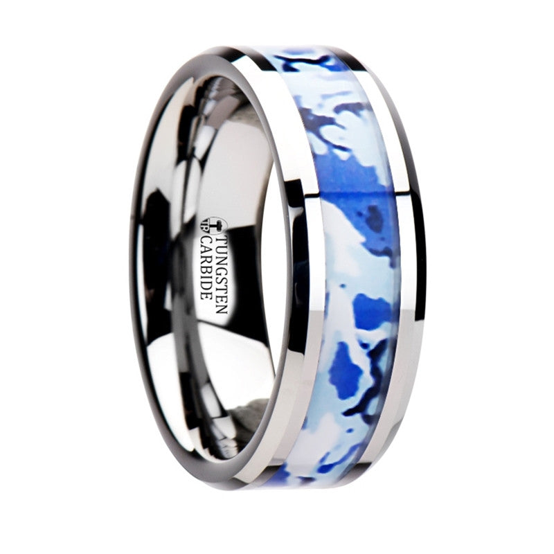 AVIATOR | Tungsten Ring, Blue & White Camouflage Inlay | 8mm - TCRings.com