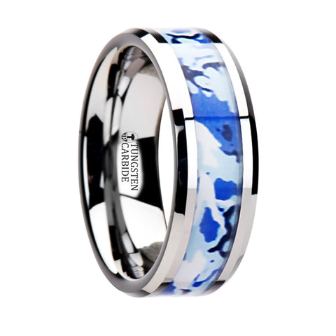 AVIATOR  *************DISCONTINUED**********Tungsten Ring with Blue and White Camouflage Inlay   8mm