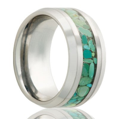 BALI | Cobalt Wedding Ring with Green Turquoise Inlay | 8mm - TCRings.com