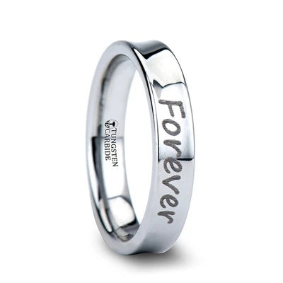 Tungsten Wedding Band Concave with Handwritten Engraving